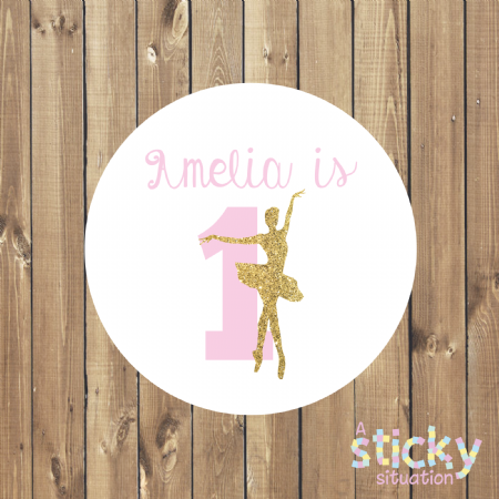 Personalised Birthday Party Stickers - Ballerina with Age design